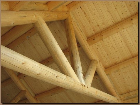 Log truss and roof purlins